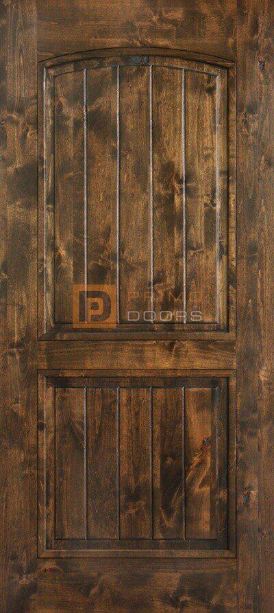 "6' 8"" Knotty Alder Barn Door - Arch Decor 2 Panels - Solid Wood"