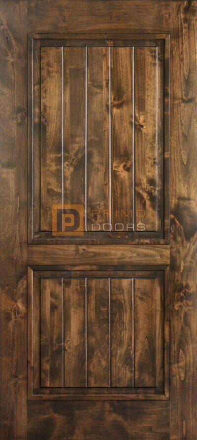 6′ 8″ Knotty Alder Barn Door – Square Top 2 Panels – Solid Wood