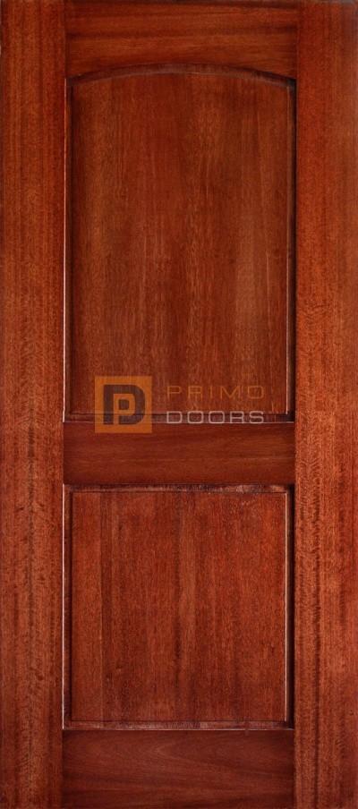 6′ 8″ Mahogany Barn Door – Arch Top 2 Panels - Smooth – Solid Wood