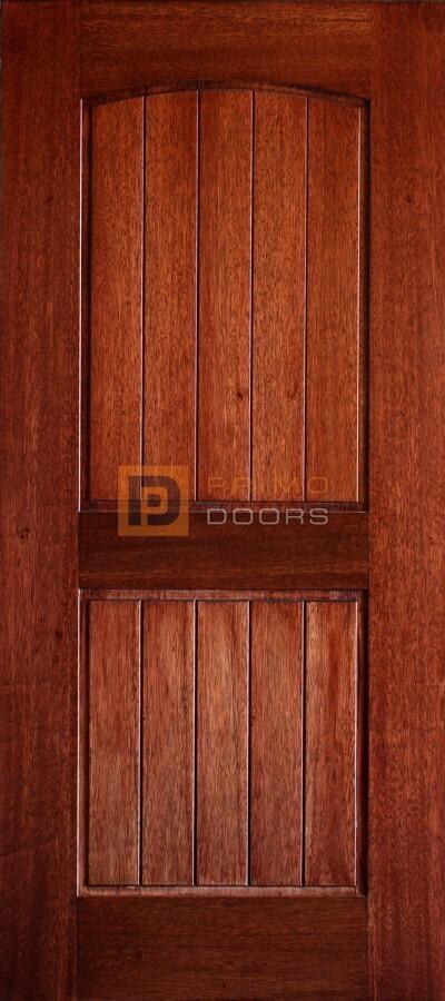6′ 8″ Mahogany Barn Door – Arch Top 2 Panels – V-Groove – Solid Wood