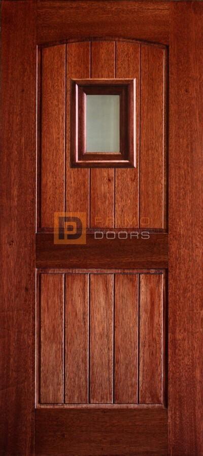 3-0x6-8_Mahogany_2_Panel_Arch_V-Groove_Speakeasy_Glass