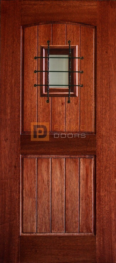6′ 8″ Mahogany 2 Panel Arched V Groove Speakeasy Glass with Mask Solid Panel Wood Door – 3-0x6-8_Mahogany_2_Panel_Arch_V-Groove_Speakeasy_Glass_Standard_Mask