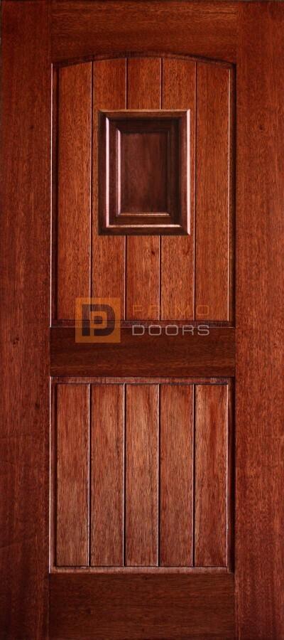 6′ 8″ Mahogany 2 Panel Arched V Groove Speakeasy (Wood) Solid Panel Wood Door – 3-0x6-8_Mahogany_2_Panel_Arch_V-Groove_Speakeasy_Wood