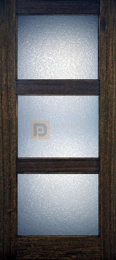 6′ 8″ 3 Lite Mahogany Wood Barn Door with Glass Options - 3-0x6-8_Mahogany_3_Lite