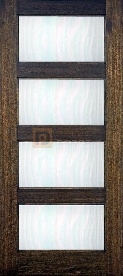 6′ 8″ 4 Lite Mahogany Wood Barn Door with Glass Options - 3-0x6-8_Mahogany_4_Lite_Contemporary