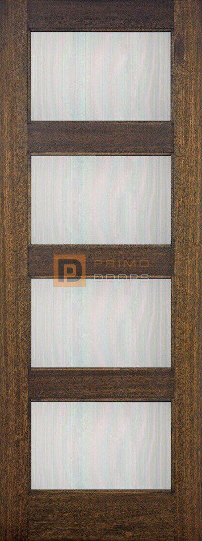 """6' 8"""" Mahogany Wood Door - 4 Lite Decorative Glass - PD-3068-4LT CONT"""