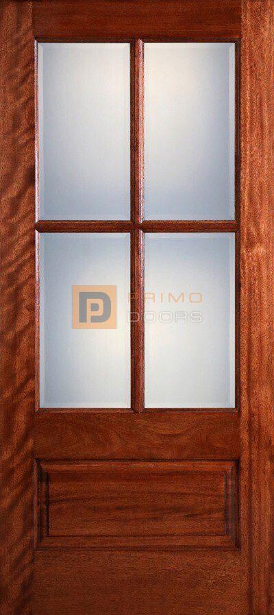 6′ 8″ 4 Lite Mahogany Wood Barn Door with Glass Options - 3-0x6-8_Mahogany_4_Lite_No_RM