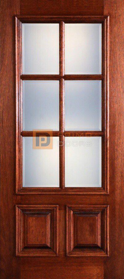 6' Mahogany Wood Front Door True Divided Light - 3-0x6-8_Mahogany_6_Lite_2_Panel