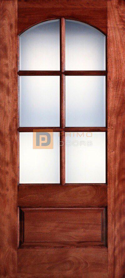 """6' 8"""" Mahogany Wood Single Front Door with True Divided Light - 3-0x6-8_Mahogany_6_Lite_Arch"""