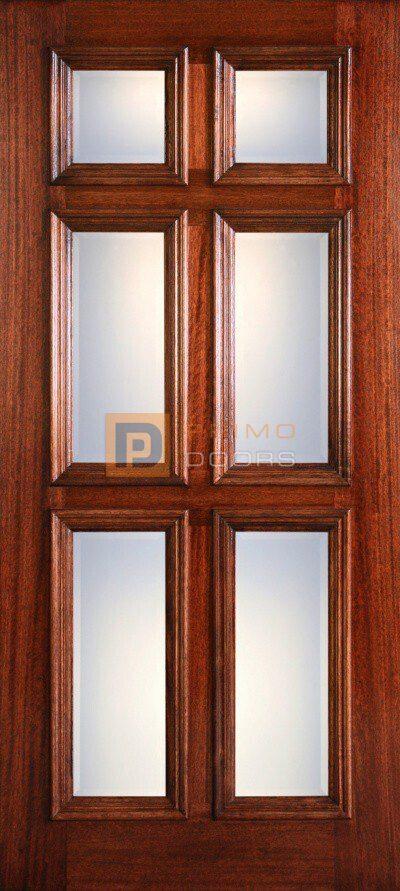 6′ 8″ Mahogany 6 Clear Bevel Panel Wood Door - 3-0x6-8_Mahogany_6_Panel_RM_Clear_Bevel
