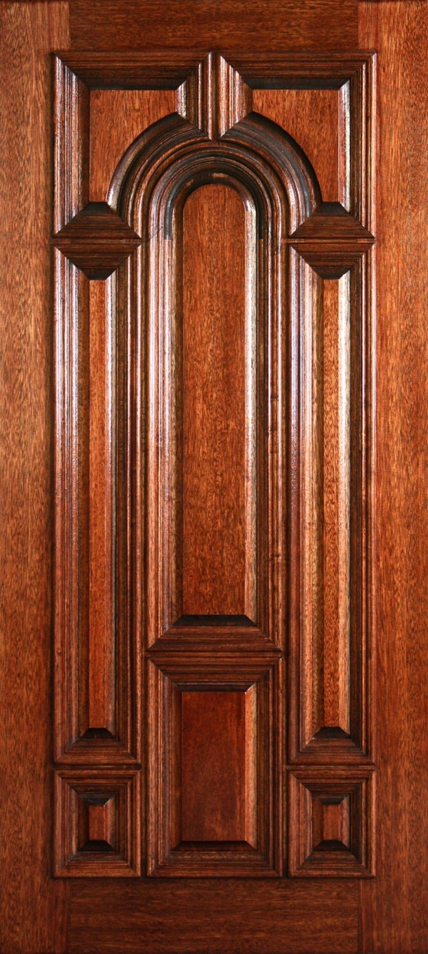 """6' 8"""" Mahogany Solid Panel Center Solid Arch Panel Wood Door - 3-0x6-8_Mahogany_Center_Arch_Solid"""
