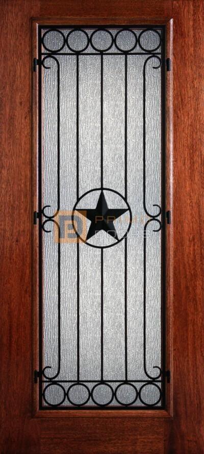 "6' 8"" Mahogany Full Lite Avignon Iron Grill Wood Door - 3-0x6-8_Mahogany_Full_Lite_Avignon_Iron_Grille"