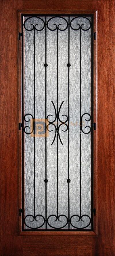 "6' 8"" Mahogany Full Lite Blafour Iron Grill Wood Door - 3-0x6-8_Mahogany_Full_Lite_Balfour_Iron_Grille"