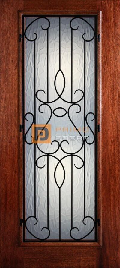 """6' 8"""" Full Lite Barcelona Mahogany Wood Front Door with Iron Grill - 3-0x6-8_Mahogany_Full_Lite_Barcelona_Iron_Grille"""
