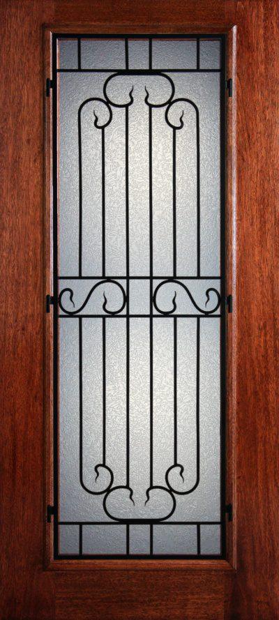 """6' 8"""" Full Lite Berkley Mahogany Wood Front Door with Iron Grill - 3-0x6-8_Mahogany_Full_Lite_Berkley_Iron_Grille"""