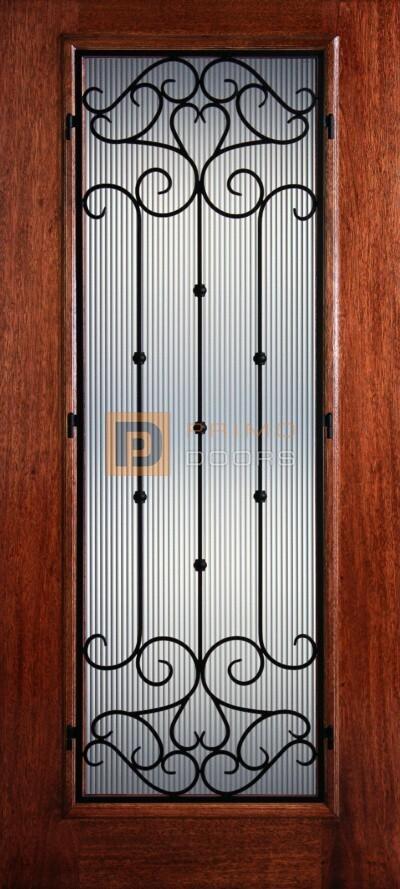 6′ 8″ Full Lite Cordoba Mahogany Wood Front Door with Iron Grill – 3-0x6-8_Mahogany_Full_Lite_Cordoba_Iron_Grille