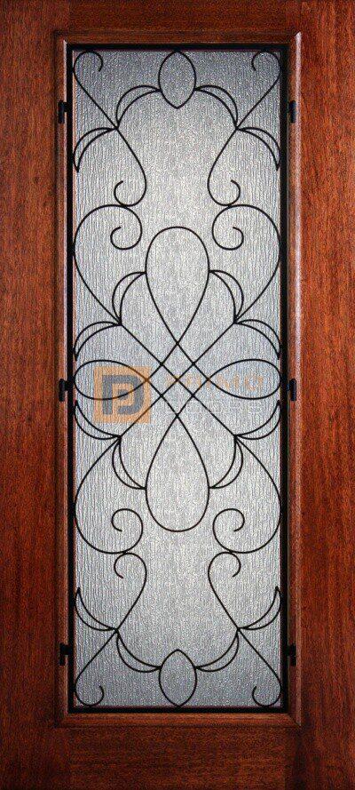 6′ 8″ Full Lite Hammond Mahogany Wood Front Door with Iron Grill – 3-0x6-8_Mahogany_Full_Lite_Hammond_Iron_Grille