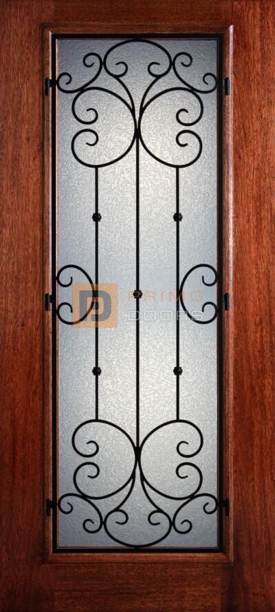 6′ 8″ Full Lite Santiago Mahogany Wood Front Door with Iron Grill – 3-0x6-8_Mahogany_Full_Lite_Santiago_Iron_Grille