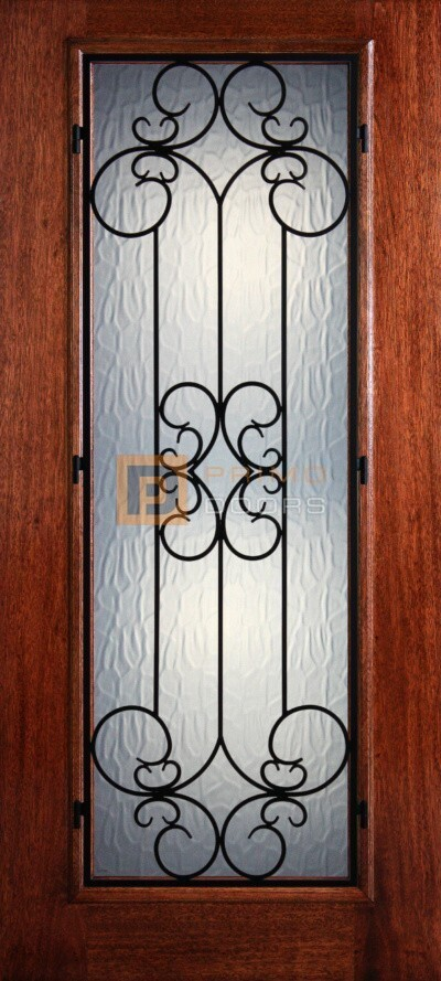 6′ 8″ Full Lite Sienna Mahogany Wood Front Door with Iron Grill – 3-0x6-8_Mahogany_Full_Lite_Sienna_Iron_Grille