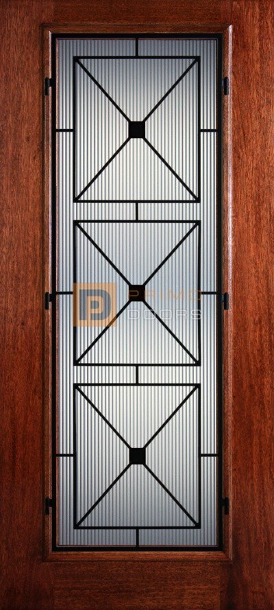 6′ 8″ Full Lite Southampton Mahogany Wood Front Door with Iron Grill – 3-0x6-8_Mahogany_Full_Lite_Southampton_Iron Grille