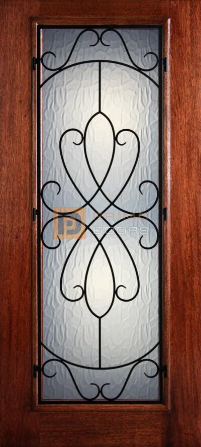 6′ 8″ Full Lite Whitney Mahogany Wood Front Door with Iron Grill – 3-0x6-8_Mahogany_Full_Lite_Whitney_Iron_Grille