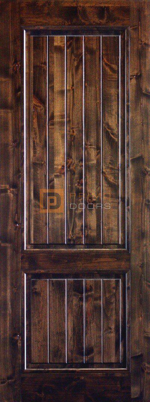 6′ 8″ Knotty Alder Square Top Solid Wood Barn Door – 3-0x8-0_Knotty_Alder_2_Panel_Square