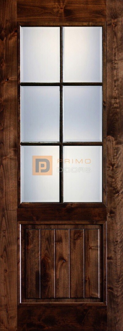 8' Mahogany Wood Single Front Door with True Divided Light - 3-0x8-0_Knotty_Alder_6_LiteGlass