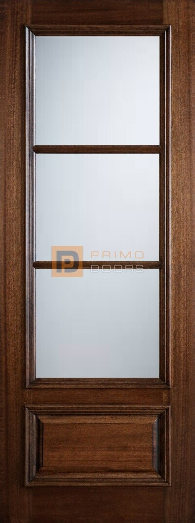 "8"" Mahogany Wood Front Door - True Divided Light Glass - 3-0x8-0_Mahogany_3_Lite_1_Panel"