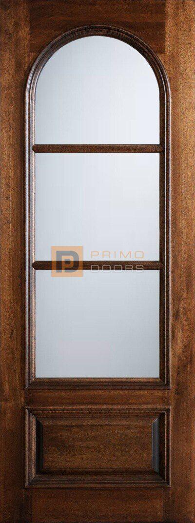 8' Mahogany Wood Front Door - True Divided Light Glass - 3-0x8-0_Mahogany_3_Lite_Circle_Lite