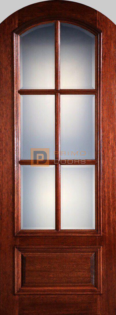 8' Mahogany Wood Single Front Door with True Divided Light – 3-0x8-0_Mahogany_6_Lite_Arch_Top