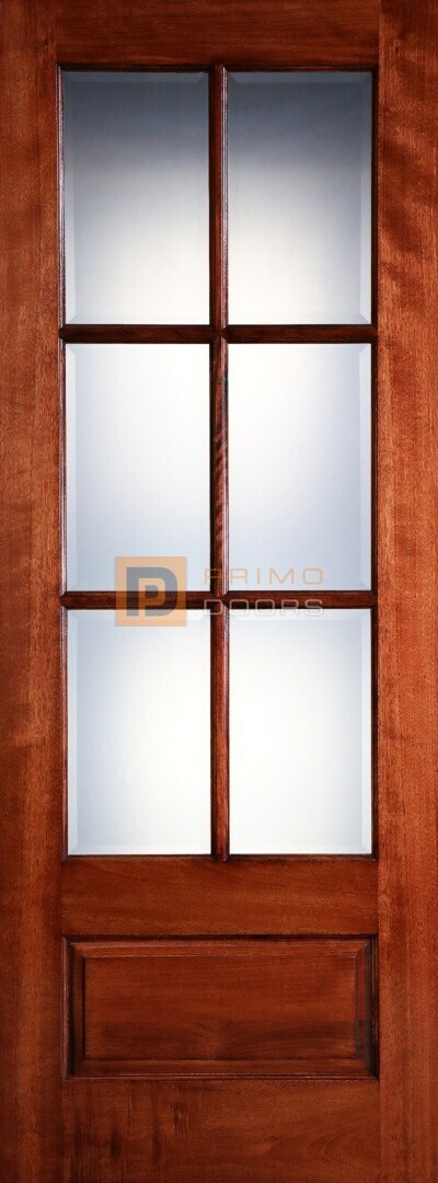 8' Mahogany 6 Lite or 3/4 Lite No Raised Molding Solid Wood Barn Door – 3-0x8-0_Mahogany_6_Lite_No_Raised_Moulding