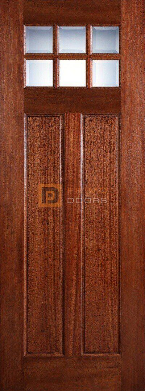 8' Mahogany Wood Single Front Door with True Divided Light – 3-0x8-0_Mahogany_Craftsman_No_Shelf