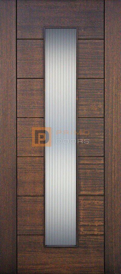 "6' 8"" Mahogany Wood Door - 1 Lite Vertical Reeded Glass - PD 3068-1LT VR"