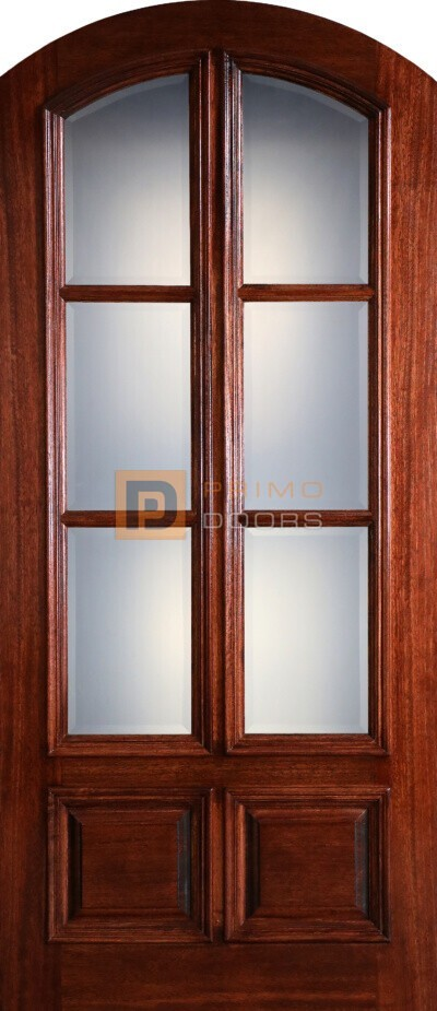 8′ Mahogany Wood Single Front Door 3Lite - True Divided Light - 3-6x8-0 Mahogany 6 Lite Arch Top Wide Mull - 3-6x8-0_Mahogany_6_Lite_Arch_Top_Wide_Mull