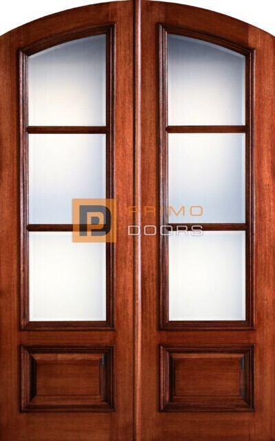 8′ Mahogany Wood Double Front Doors with Glass - 5-0x8-0_Mahogany_3_Lite_Arch_Top