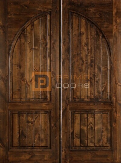 """6' 8"""" Knotty Alder 2 Panel Double Solid Wood Barn Doors – 6-0x8-0_Knotty_Alder_2_Panel_Square_Top_Circle_Panel"""
