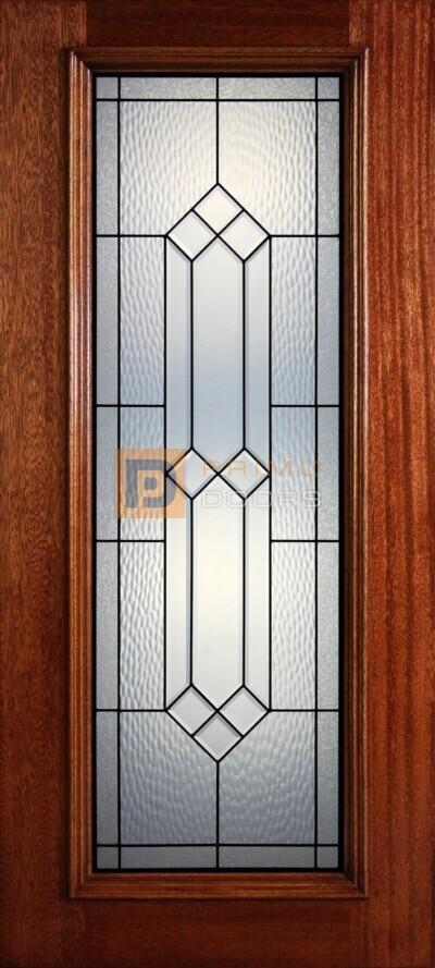 "6' 8"" Full Lite Decorative Glass Mahogany Wood Front Door - PD 25 CBCWGC"