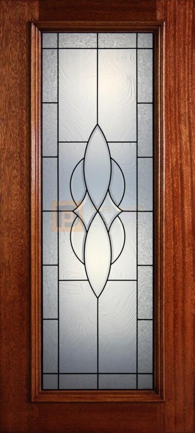 """6' 8"""" Full Lite Decorative Glass Mahogany Wood Front Door - PD 28 CBCBAGC"""