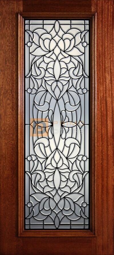 """6' 8"""" Full Lite Decorative Glass Mahogany Wood Front Door - PD 300L CB"""