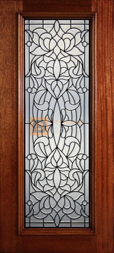 """6' 8"""" Full Lite Decorative Glass Mahogany Wood Front Door - PD 300L GCB"""