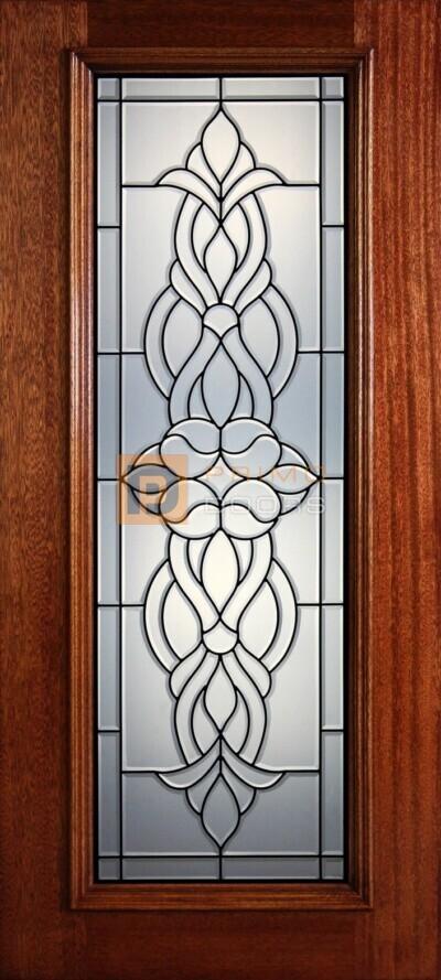 """6' 8"""" Full Lite Decorative Glass Mahogany Wood Front Door - PD 301L CB"""