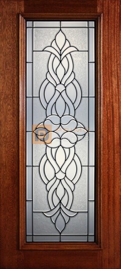 """6' 8"""" Full Lite Decorative Glass Mahogany Wood Front Door - PD 301L CBGCB"""