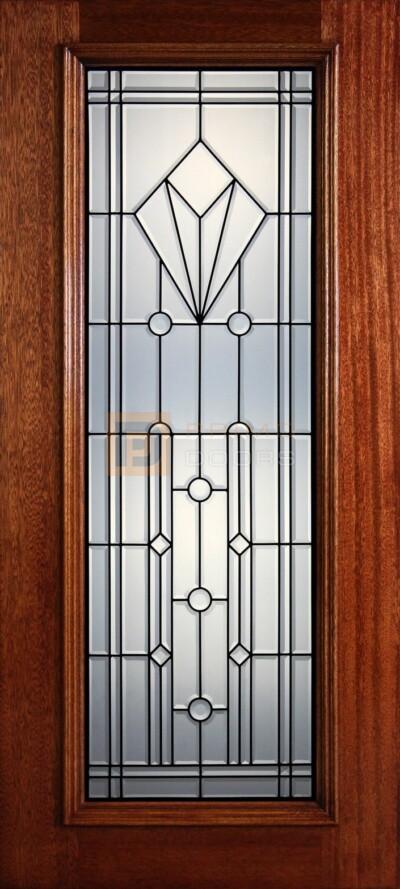 """6' 8"""" Full Lite Decorative Glass Mahogany Wood Front Door - PD 302L CB"""