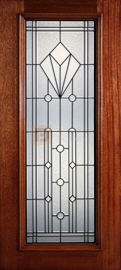 """6' 8"""" Full Lite Decorative Glass Mahogany Wood Front Door - PD 302L CBGCB"""