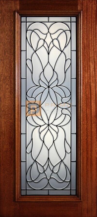 """6' 8"""" Full Lite Decorative Glass Mahogany Wood Front Door - PD 303L CB"""