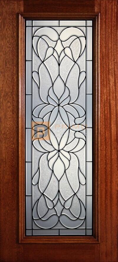 """6' 8"""" Full Lite Decorative Glass Mahogany Wood Front Door - PD 303L CBGCB"""