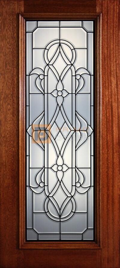 """6' 8"""" Full Lite Decorative Glass Mahogany Wood Front Door - PD 304L CB"""