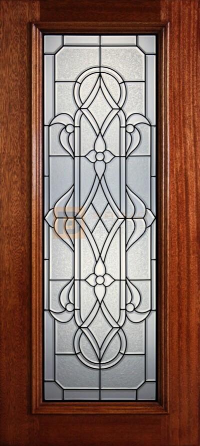 """6' 8"""" Full Lite Decorative Glass Mahogany Wood Front Door - PD 304L CBGCB"""