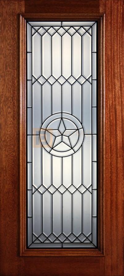 """6' 8"""" Full Lite Decorative Glass Mahogany Wood Front Door - PD 305L-CB"""