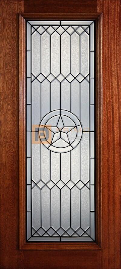 """6' 8"""" Full Lite Decorative Glass Mahogany Wood Front Door - PD 305L CBGCB"""